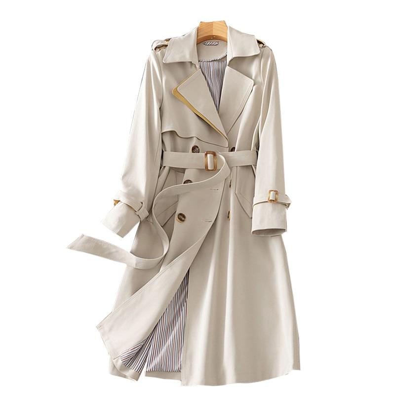 SURUFENG النساء عارضة طويلة خندق مزدوجة الصدر معطف فضفاض الإناث الخريف أبلى الموضة شيك سترة واقية حجم كبير S-3XL