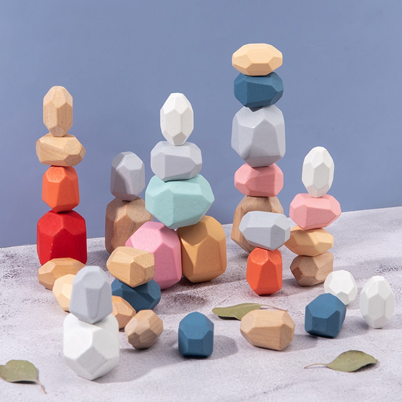 Bloques de construcción Montessori creativos educativos Jenga de madera, piedra de color tono frío, juego de apilamiento de estilo nórdico, juguetes de madera