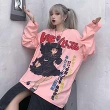 NiceMix Harajuku T-shirt Streetwear Anime t hemd Frauen Kühle Karikatur Drucken Hip Hop Streetwear Lustige Drucken Casual Rosa Übergroßen