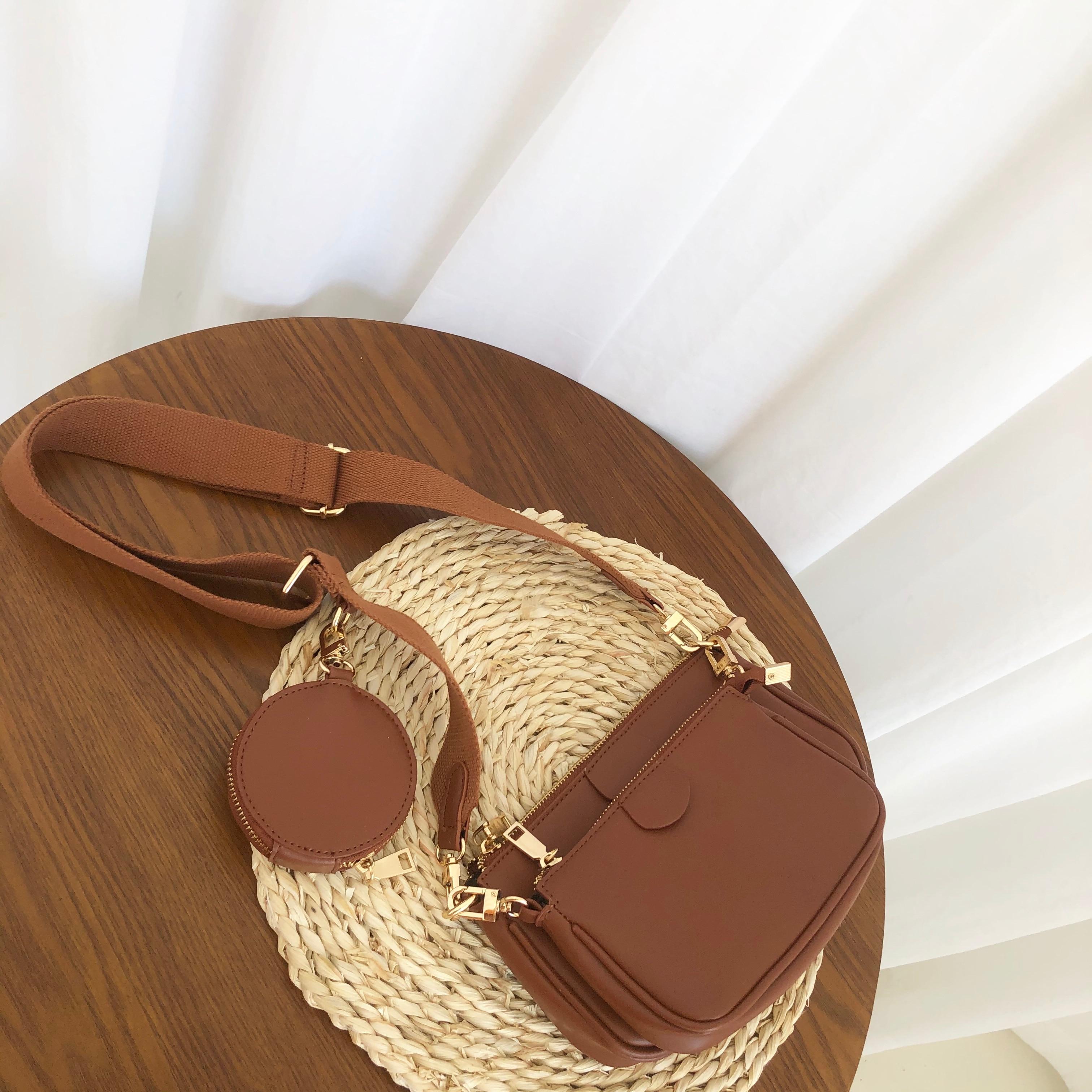 Fashion Solid Color PU Leather Shoulder Messenger Bag Casual Crossbody Bags Women Handbags Tote Bag 3 Sets Evening Clutch Purse