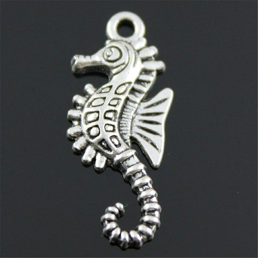 20 pçs mar cavalo charme hippocampal pingente hippocampal charme para fazer jóias 2 cores chapeado diy jóias acessórios 29x12mm