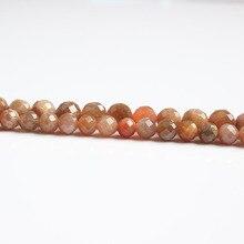 LanLi bijoux naturels 6/8mm facettes pierre de soleil Orange lune perles bricolage hommes et femmes Bracelet collier cheville accessoires
