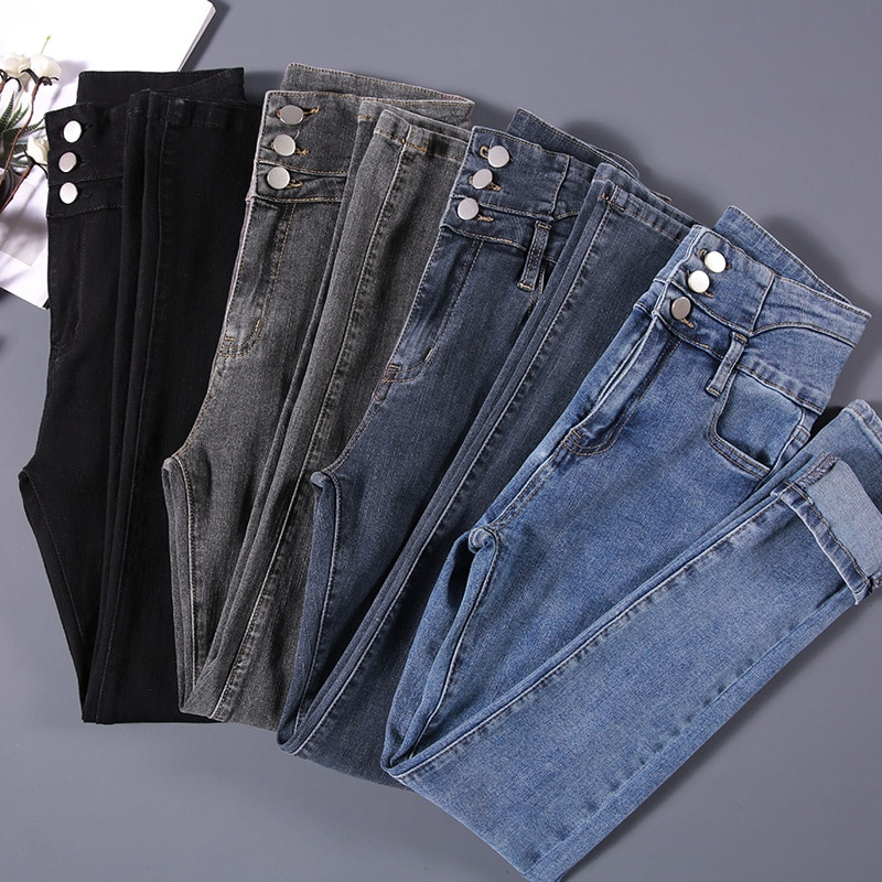 Женские джинсы, винтажные узкие джинсы стрейч с завышенной талией, женские модные брюки-карандаш стрейч на пуговицах, повседневные джинсы д...