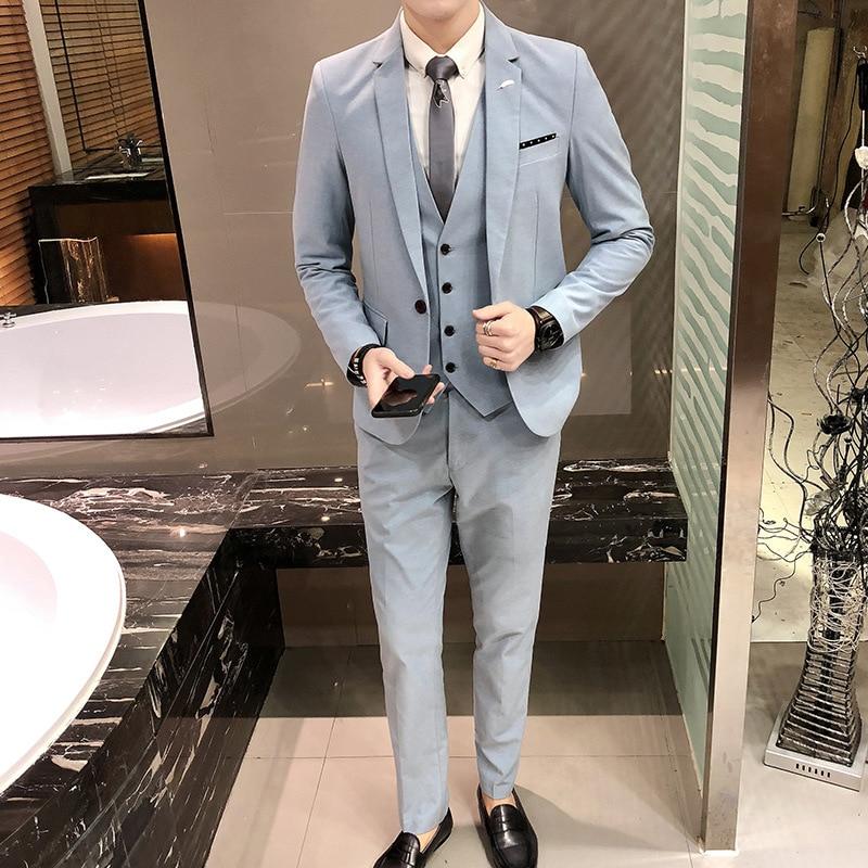 Los hombres nueva ola punto traje de boda novio boda Vestido joven de la moda británica de cultivar una moral vestido de traje de tres piezas