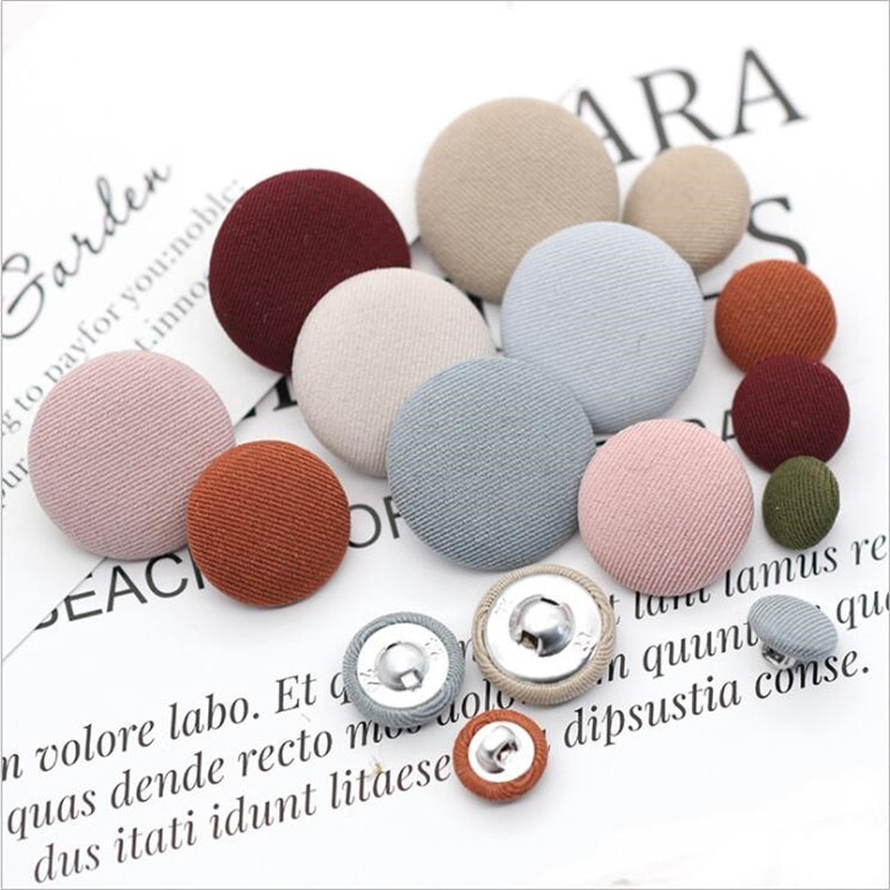 Round Buttons Sewing  Fabric Covered Diy Accessories for Patchwork Crafts Garments Overcoats Bags Sofa Shoes  50pcs