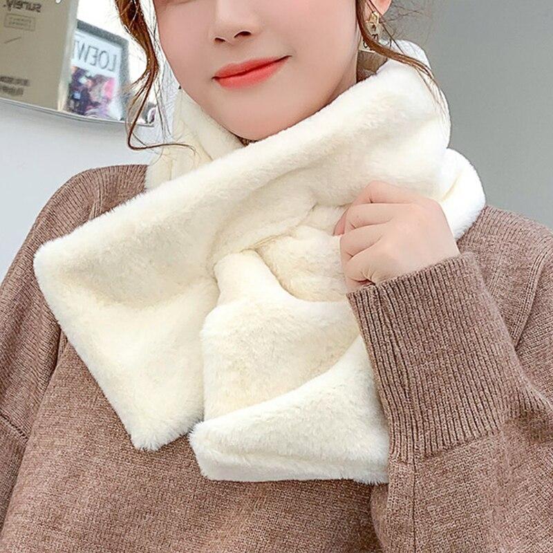 Плюшевый шарф, женский теплый и удобный зимний шарф, женский меховой воротник, теплый шарф, Женский Универсальный плюшевый воротник