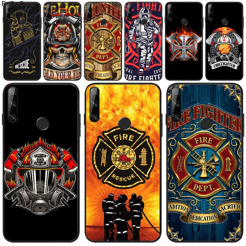 Cuci o bravo bombeiro fogo ems caso de telefone resgate para huawei y5 y6 y7 y9 prime pro ii 2019 2018 honra 8 8x 9 lite view9