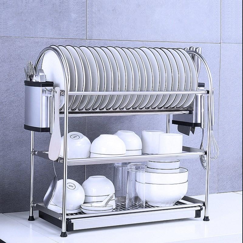 3 Layers Dish Rack High Quality Stainless Steel Dishes Drip Racks Kitchen Plate Chopsticks Knife Storage Organization Holder