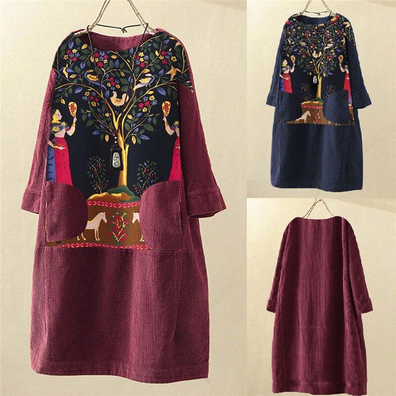 Women Vintage Corduroy Dress Fashion Trend Ethnic Print Patchwork Long Sleeve Pockets Loose Dress Plus Size Women Clothing 2020