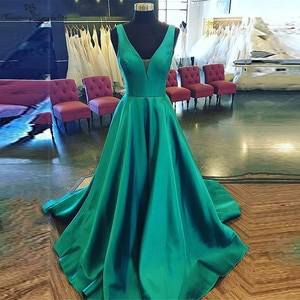 Simple Satin Evening Dresses 2020 Pockets V-Neck Open Back A-Line Long  Formal Party Gowns Prom Dresses Robe De Soiree Cheap