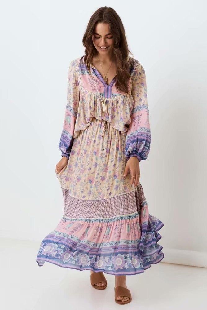 2020 femme outono duas peças conjunto vestido de algodão manga longa boho midi vestido floral impressão chique casual vestido diário vestidos mujer