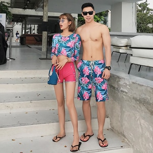 Hot Sell Striped Print Couples Swimwear Men's Beach Shorts And Sexy Bikini