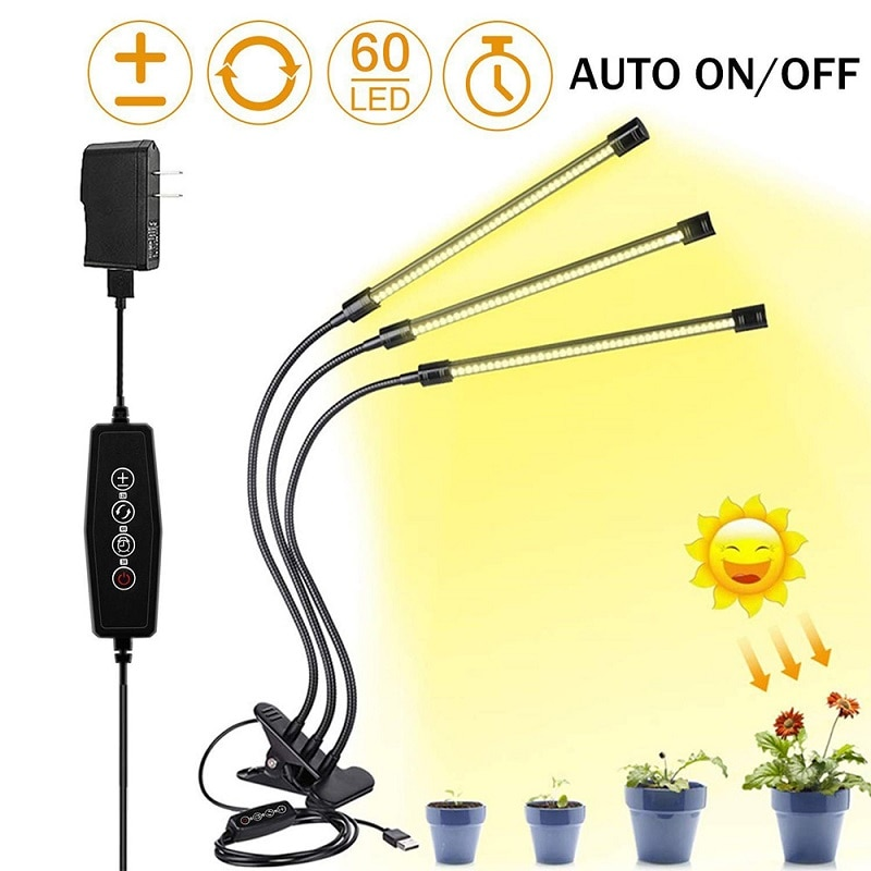 مصباح نمو LED ، 30 واط ، تيار مستمر ، 5 فولت ، USB ، مع مؤقت ، طيف كامل ، 3 رؤوس ، مشبك ، مرن ، مصباح نباتي ، مصباح Fitolamp ، نباتات الشتلات