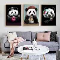 funny art cute cartoon animals panda eating canvas painting poster print cuadros wall art for living room home decor no frame