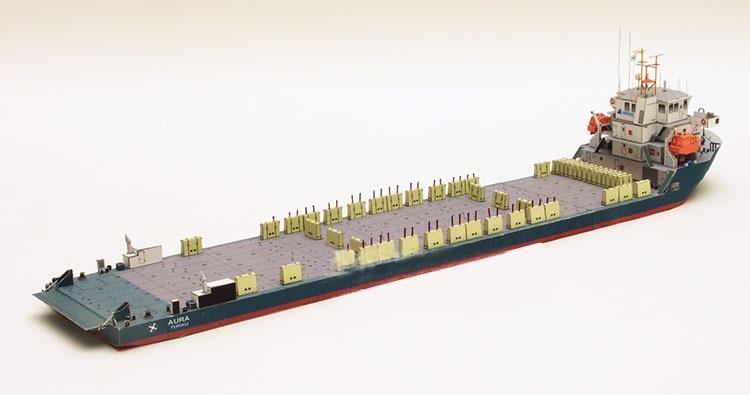 1250 polonês aura navio de carga pesada modelo de papel 3d navio ventilador militar manual diy papel cruiser navegação modelo brinquedos 40x7.5cm