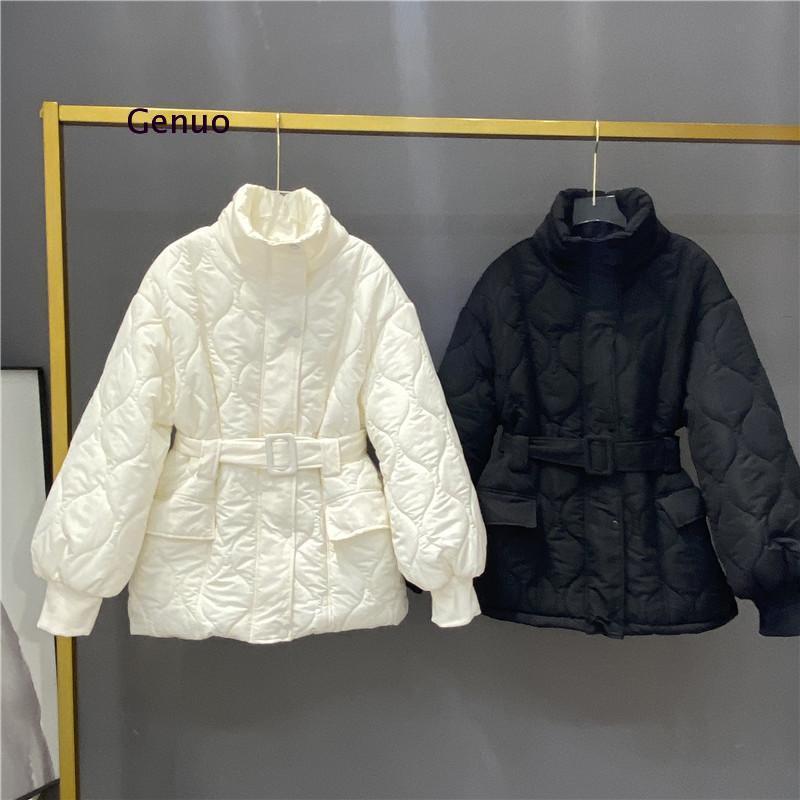 جاكيت نسائي مبطن بالقطن ، معطف قصير ضيق مع حزام ، غير رسمي ، أبيض ، ملابس خارجية ، نمط Preppy ، 2021