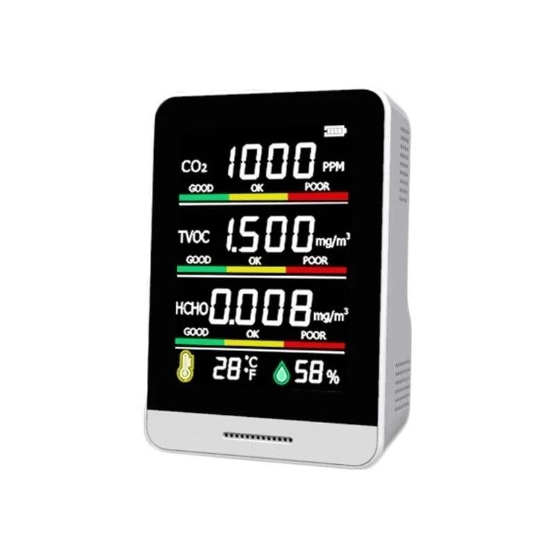 متعددة الوظائف 5 in1 CO2 متر الرقمية مستشعر درجة الحرارة والرطوبة اختبار جودة الهواء رصد ثاني أكسيد الكربون TVOC HCHO الكاشف