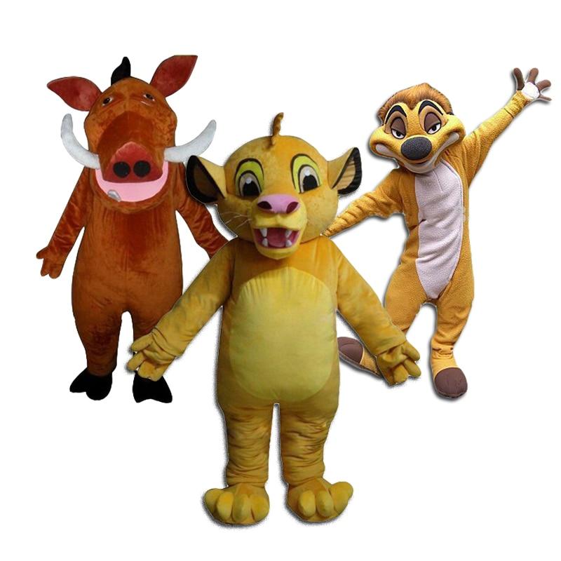 Disfraz de mascota del Rey León Simba de Masoct, disfraz de mascota Pumma Timon, Kits de Cosplay de Anime para adultos, evento de fiesta de Halloween