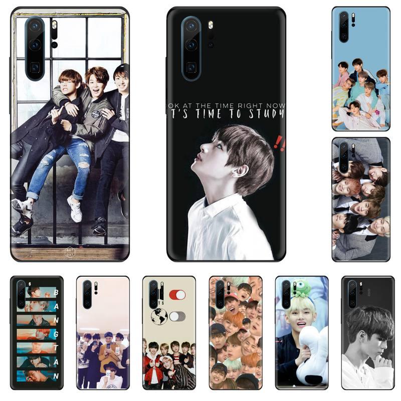 Kpop Bangtan Boys Black TPU Soft Phone Case Cover For Huawei P9 P10 P20 P30 Pro Lite smart Mate 10 Lite 20 Y5 Y6 Y7 2018 2019
