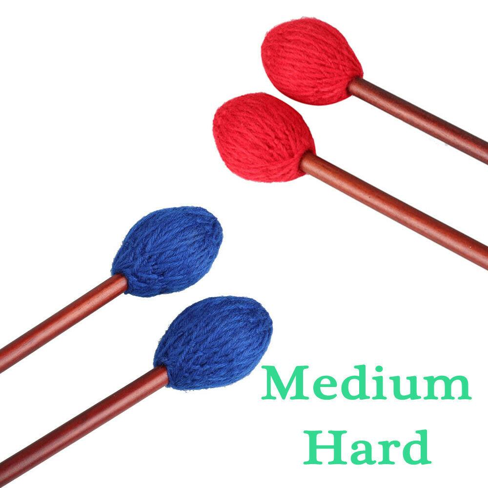 1 пара красно-синих головок из пряжи, средние барабанные палочки Marimba, средние жесткие с кленовой ручкой для ударных аксессуаров