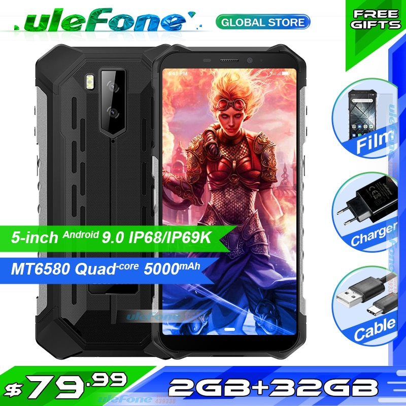 "Ulefone armadura X3 5,5 ""HD IP68 impermeable teléfono inteligente 2GB 32GB Android 9,0 Quad Core identificación facial desbloquear 3G teléfono móvil 5000mAh"