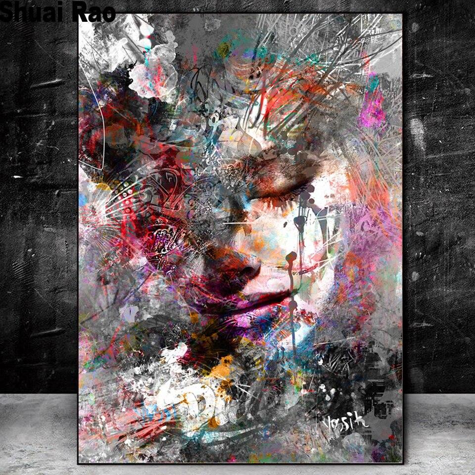 5d «сделай сам», алмазная живопись, абстрактная девушка, мозаика, алмазная живопись, полноразмерная круглая Алмазная вышивка, граффити, иску...
