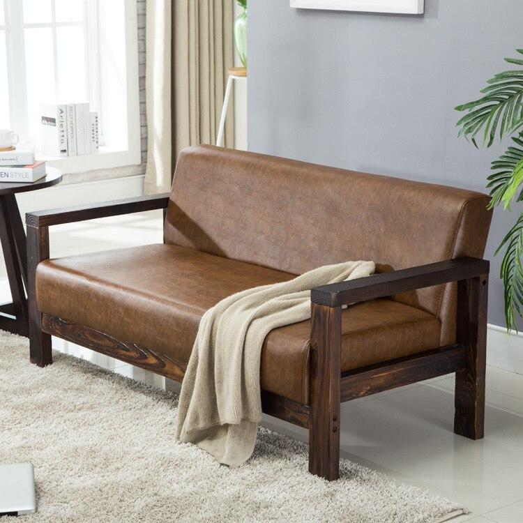 Karoissimple, madera sólida, sofá pequeño nórdico para apartamento, Bar con asiento de tarjeta Retro, recepción de Pu, sofá para descanso de Arte de cuero, Oficina
