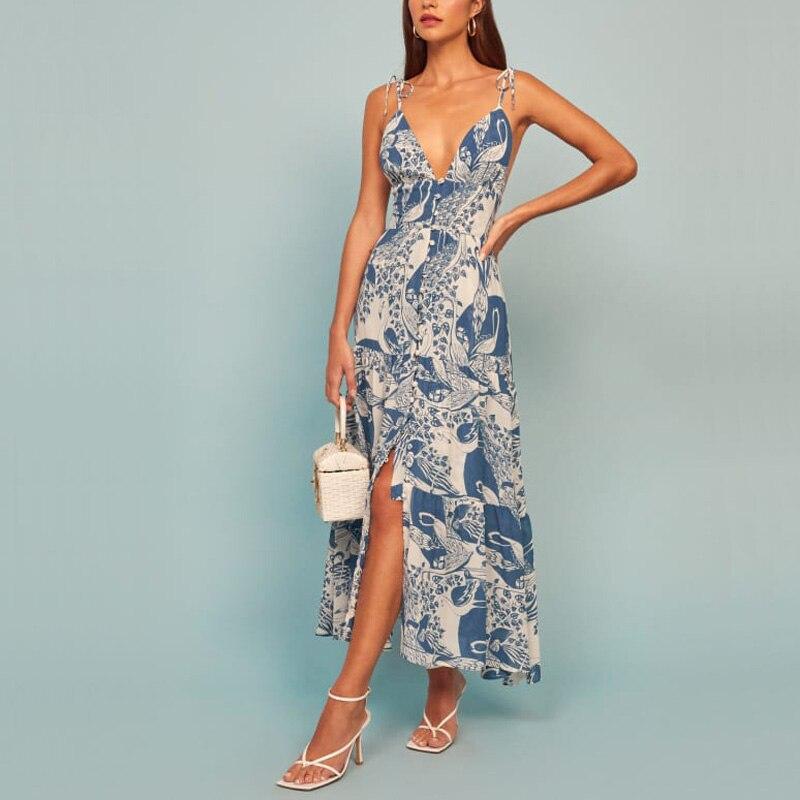 Summer holiday beach women's dress casual printed slim long maxi sling backless deep v neck sexy swing dress Vestidos