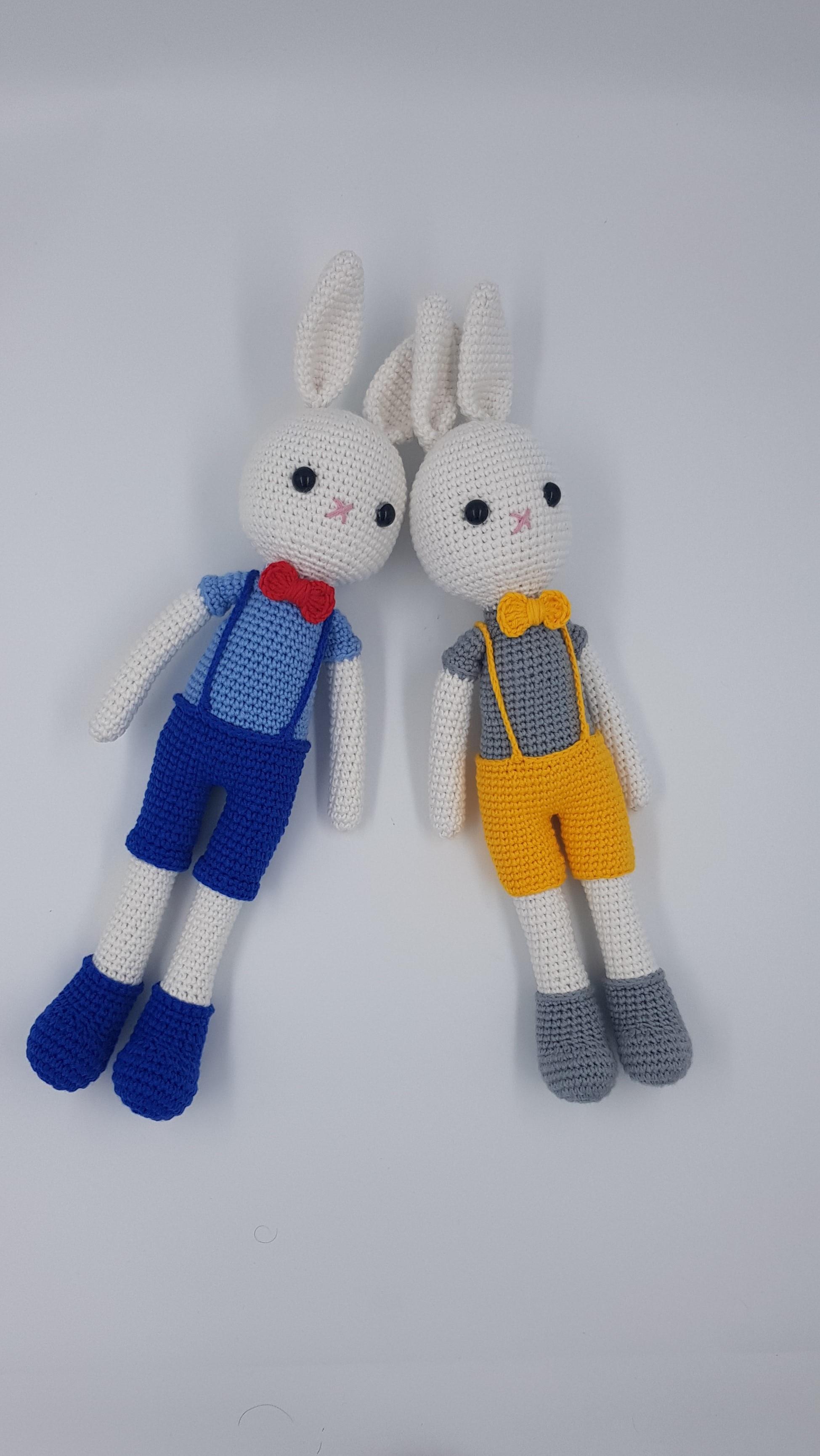 Conejo bonito de 36cm hecho a mano, cuerda orgánica, Amigurumi juguete de punto, amigo durmiendo y amigo del juego