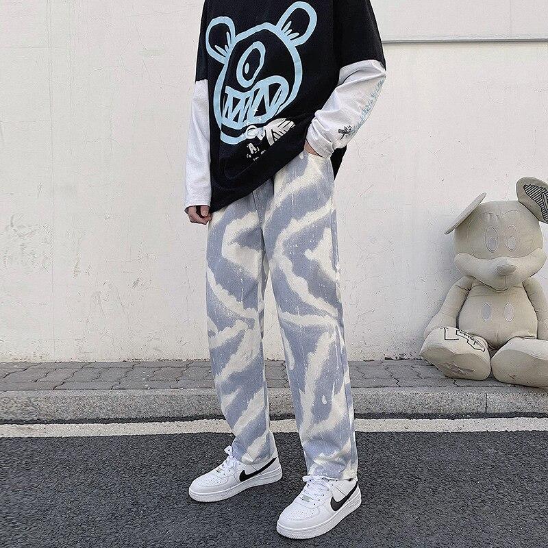 Мужские свободные прямые джинсы, осенние спортивные мужские повседневные джинсы в стиле хип-хоп с поясом на резинке, модные широкие джинсы