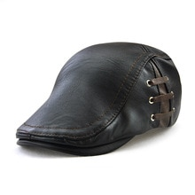 Casquette en cuir à visière pour hommes   Automne et hiver, chapeau de loisir, plat, street Fashion perforation, design de ruban, ajustable Y03