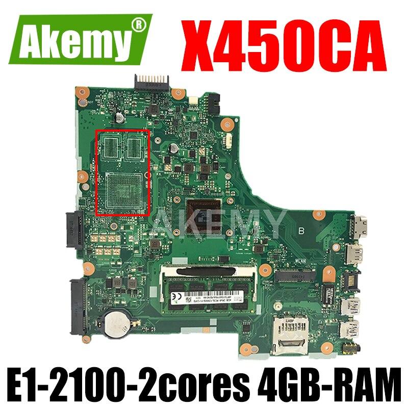 جديد!!! اللوحة ل ASUS X450CC X450CA A450C X450C X452C x450VC K450C اللوحة المحمول W/ E1-2100-2cores + 4GB-RAM
