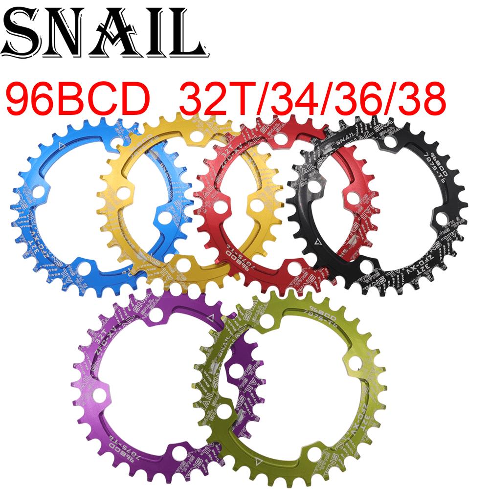 Anillo de cadena redondo de Caracol 96 BCD 32 34 36 38T diente ancho estrecho Placa de diente ultraligero MTB bicicleta de montaña 96BCD bicicleta de carretera
