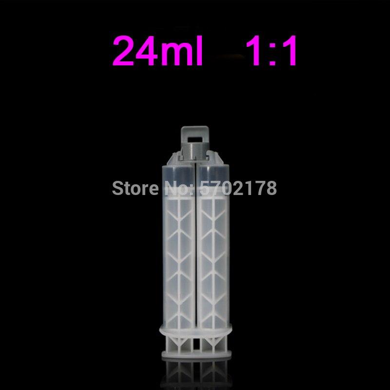 جديد نوع AB الغراء الايبوكسي بندقية خرطوشة 24 مللي حقنة يدوية 1:1 زجاجة بلاستيكية خلط مع الراتنج ثابت خلاط خلط فوهة