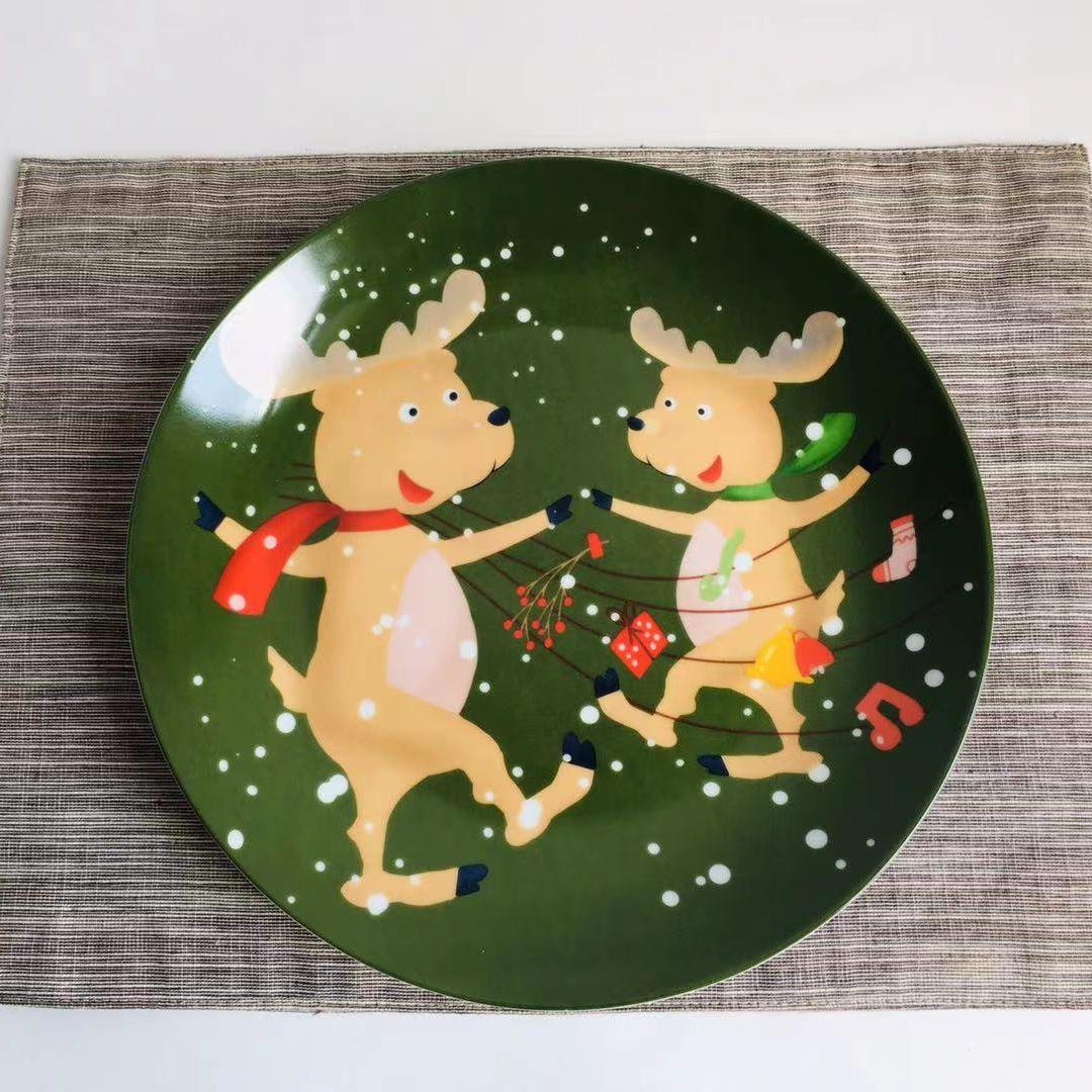 عيد الميلاد الأيائل الزخرفية الخزف لوحة مجموعة لطيف الغزلان الأطفال وجبة خفيفة المعكرونة أدوات المائدة المنزلية مجموعة