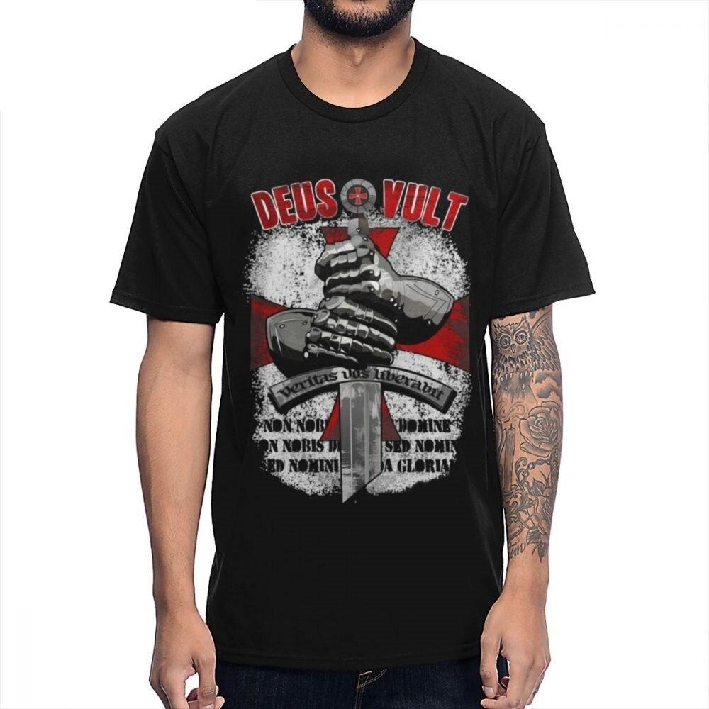 Vult Crusades Knights Templar Sword Cross T Shirt Male Popular TV Knightfall Tee Shirt Pure Cotton Leisure T-shirt