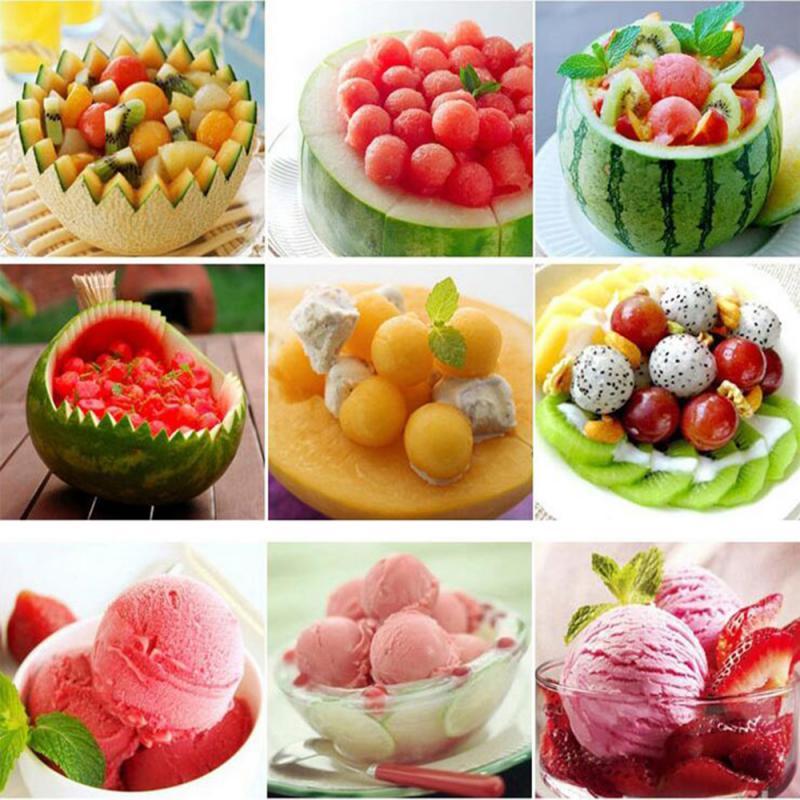 2 в 1 из нержавеющей стали Дыня Арбуз шариковая тарелка мороженое копать мяч Совок Ложка творческий нож для резьбы фруктов кухонный инструмент
