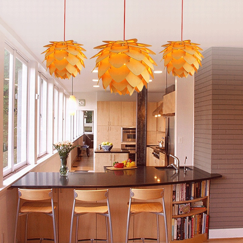 Lámpara colgante Pinecone cocina comedor Bar Vintage lámpara de madera moderna DIY IQ elementos rompecabezas luces colgantes Luminaria