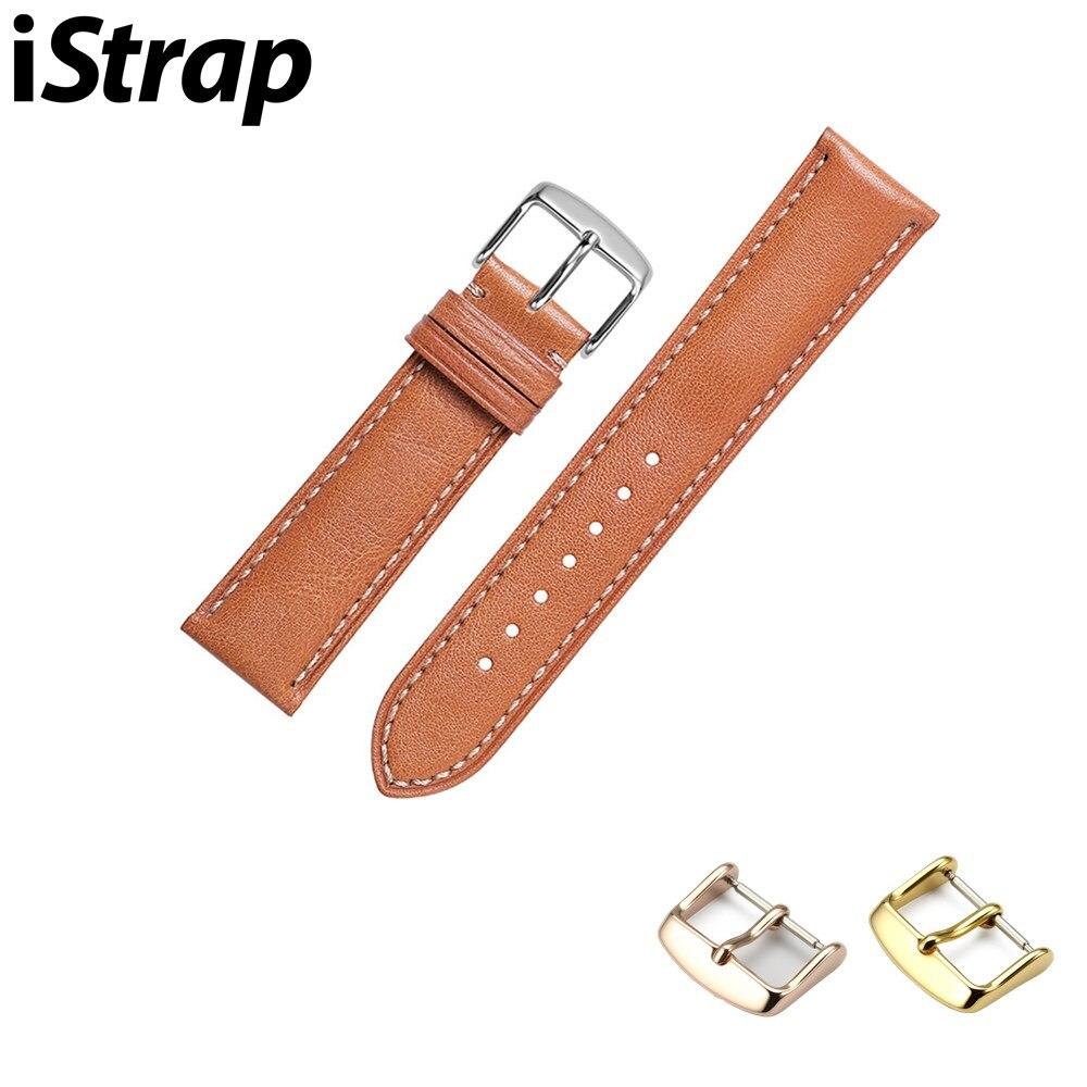 Correas de reloj iStrap para Tissot, correa de reloj de cuero de piel de becerro para hombres y mujeres, correas de cinturones de 19 y 20mm, pulsera con oro plateado
