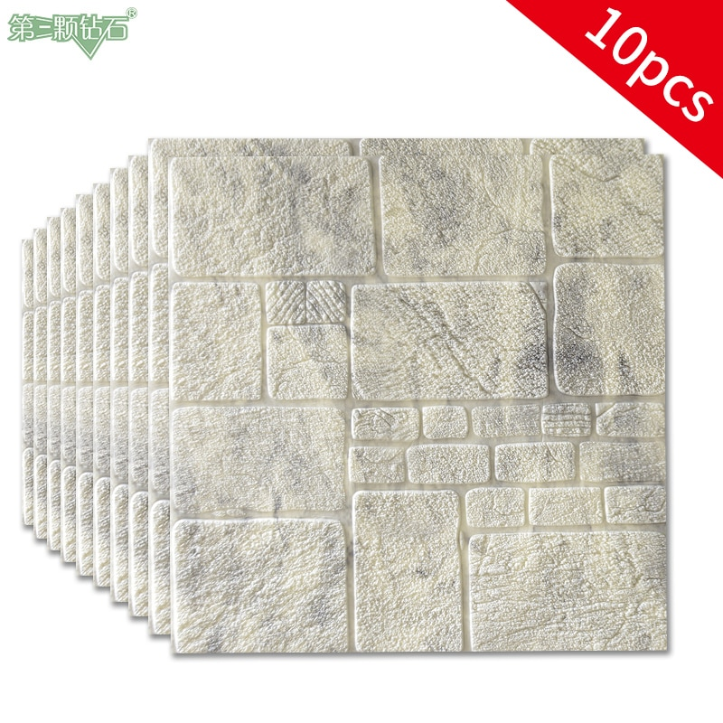 Marble film stone wall paper 3d foam tile wall sticker for dinning room bedroom wall decoration TV background wall decor  - buy with discount