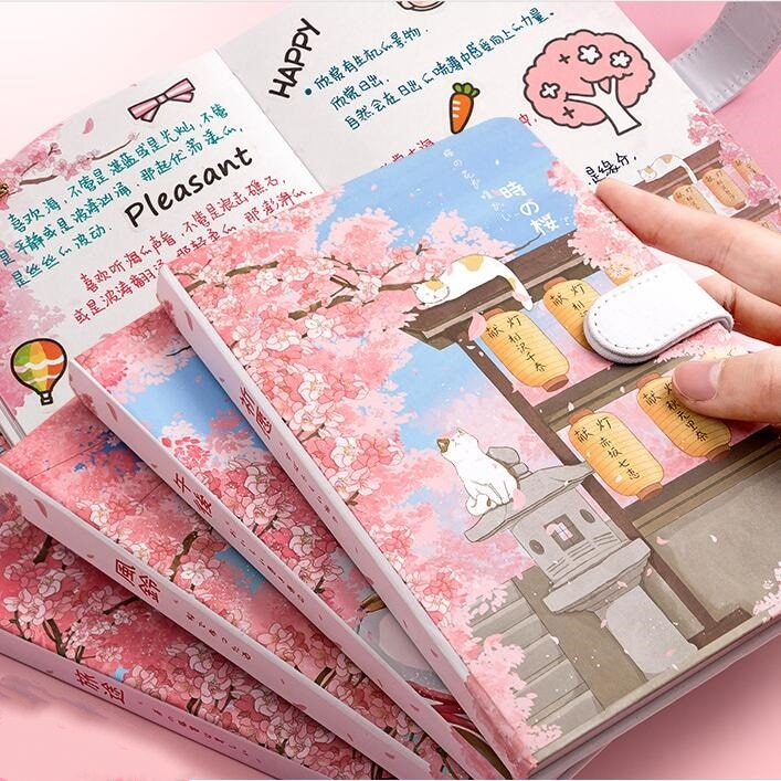 Sakura Cat v.5 Cute Diary Hard Cover Planner Journal Study Notebook Notepad Beautiful Stationery Gift rabbit nina faux leather cover journal diary cute notebook notepad girls planner stationery gift