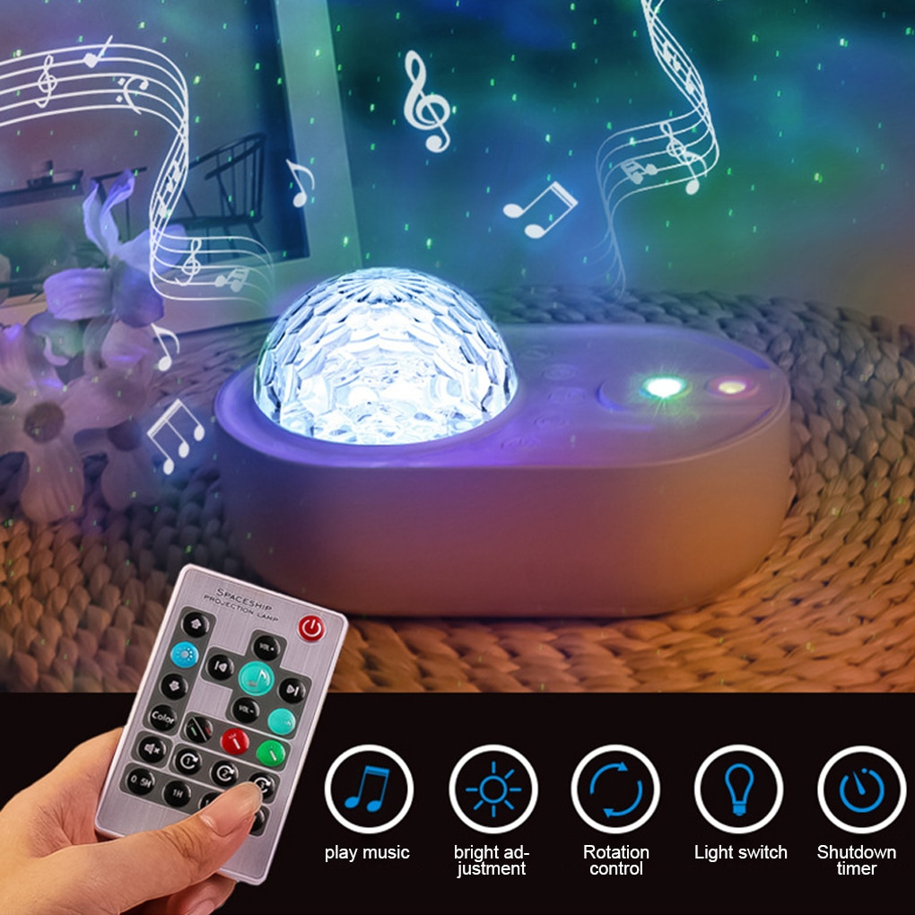 USB ضوء عرض نجم بروجيكتور ليلة كشاف ضوئي LED مصباح إسقاط للمنزل حفلة ديكور قابل للتعديل سمّاعات بلوتوث