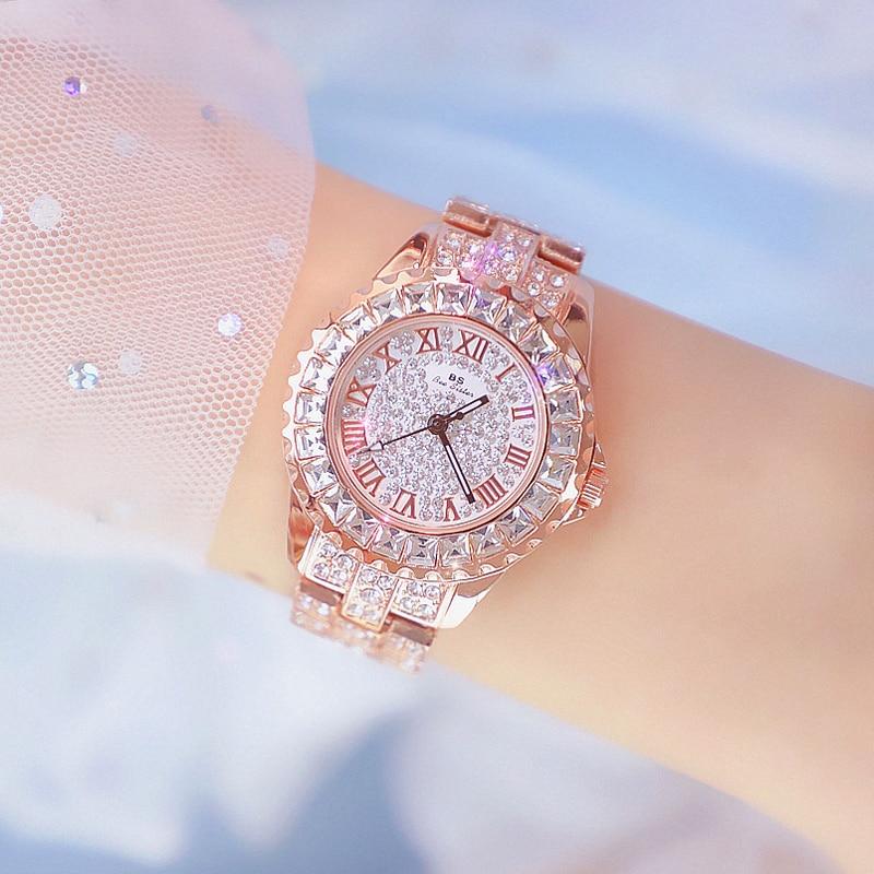 BS Luxury Brand Women Watches Elegant Dress Watches Fashion Rhinestone Crystal Quartz Watch Ladies Wristwatches Reloj Mujer top luxury diamond women watches fashion rose gold ladies watch women rhinestone crystal quartz dress watches clock reloj mujer