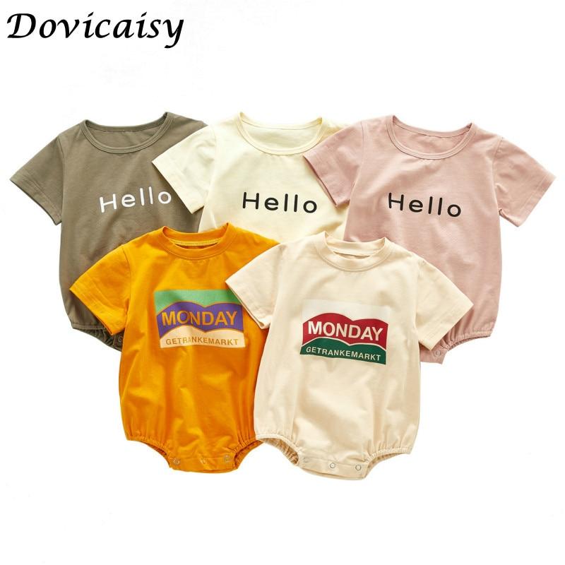 2020 Summer Newborn Baby Boys Girls Bodysuits Hello Printed Summer Short Sleeve Infants Clothes Kids Jumpsuits