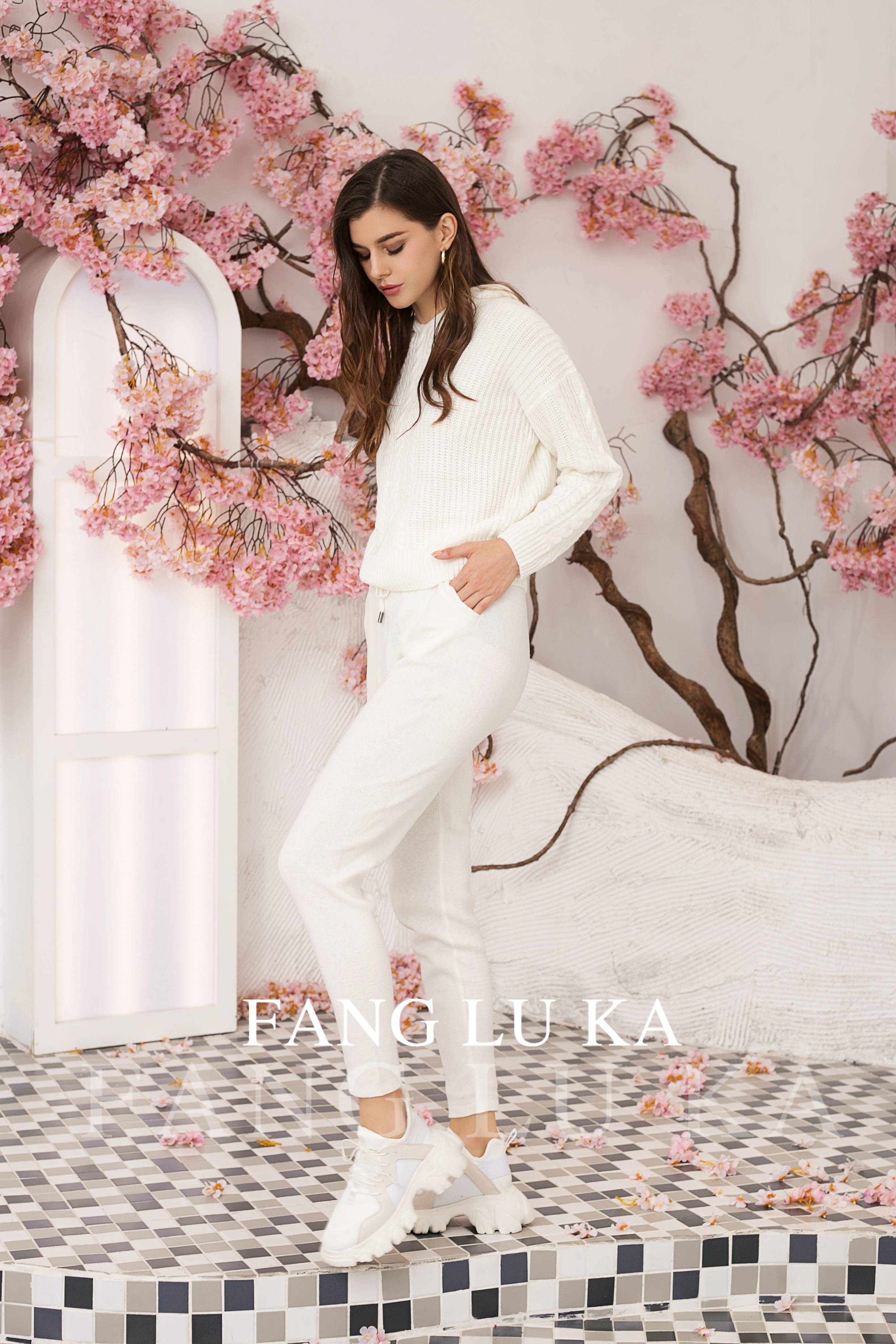 Fashion High end Autumn Winter cashmere knitting two piece Women Hoodies + new casual Leggings Two Piece Set Outfits Knitted enlarge