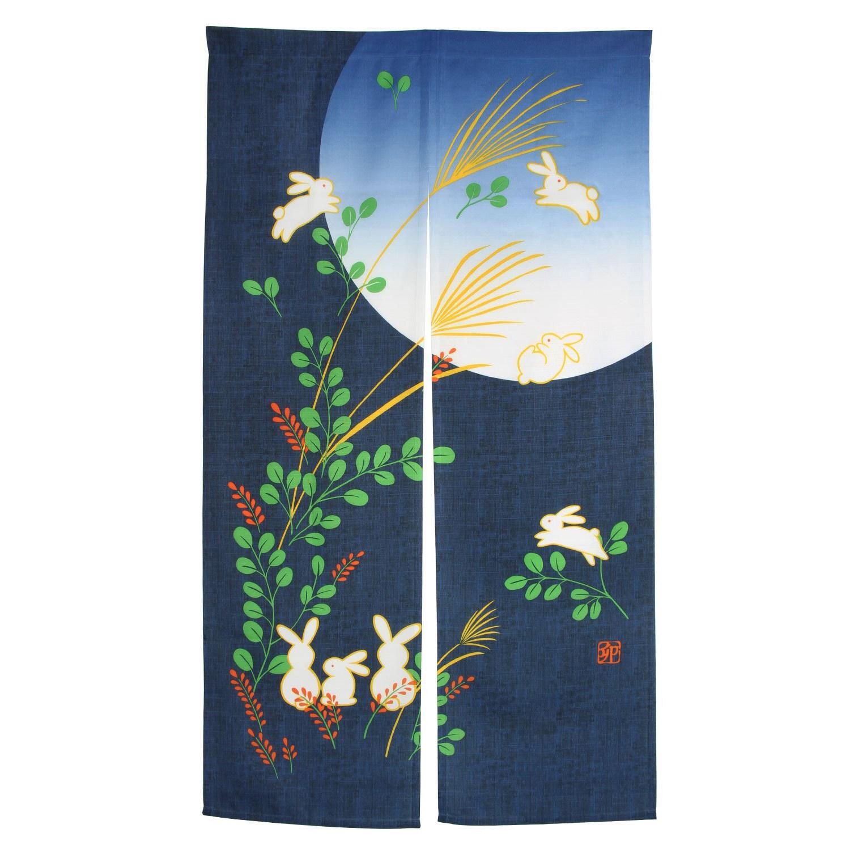 Cortina para puerta japonesa conejo Noren bajo la luna para decoración del hogar 85X150Cm