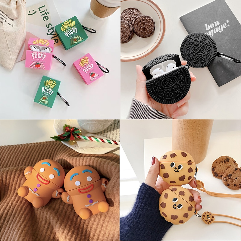 3D Strawberry Pocky Cookies Wireless Bluetooth Headset Silicone cover For Airpods 1/2/pro Earphone Protective Anti-drop cases