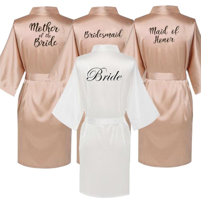 فساتين حريرية ساتان مقاس كبير ، روب حمام للعروس ووصيفات العروس ، ملابس نوم نسائية ، لون ذهبي وردي
