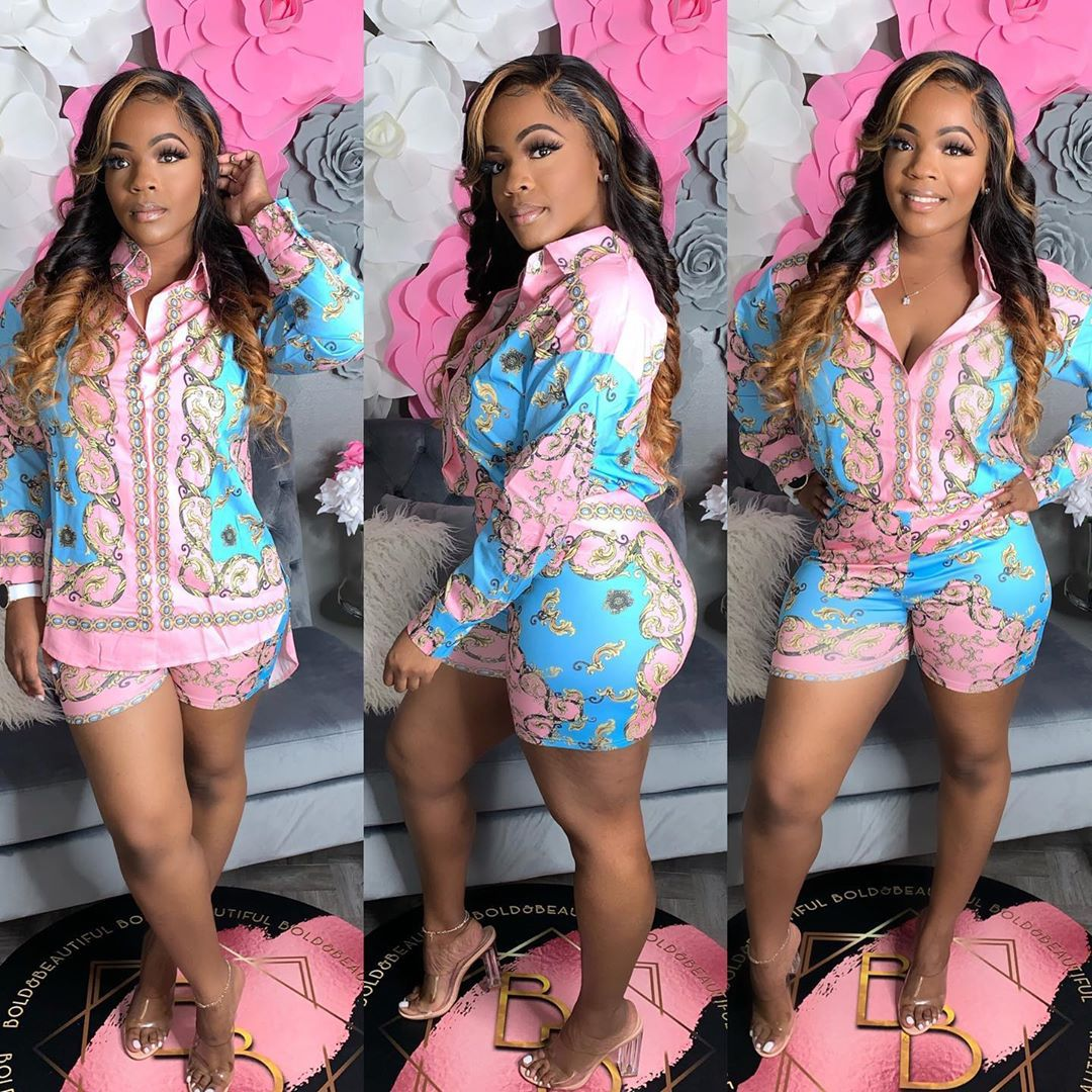 2020 Shirts for Women Floral Two Pcs Sets Casual Maching Suit New Design Crop Top and Shorts Free Sh