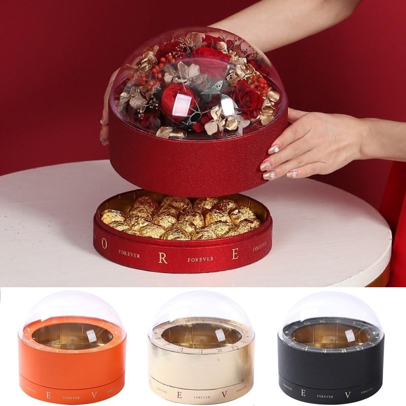 الاكريليك شفافة مزدوجة سطح السفينة كاندي صندوق زهور الشوكولاته زهرة أبدية علبة التعبئة والتغليف الزفاف عيد ميلاد هدايا عيد الأم لها